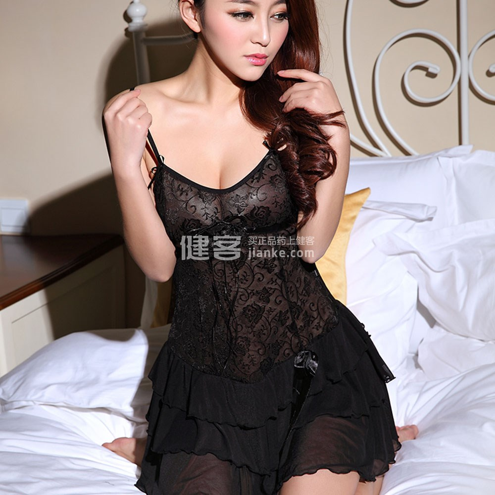 娅诗凡透明黑色情趣吊带8902(睡衣)别人用情趣用品的吗有事图片