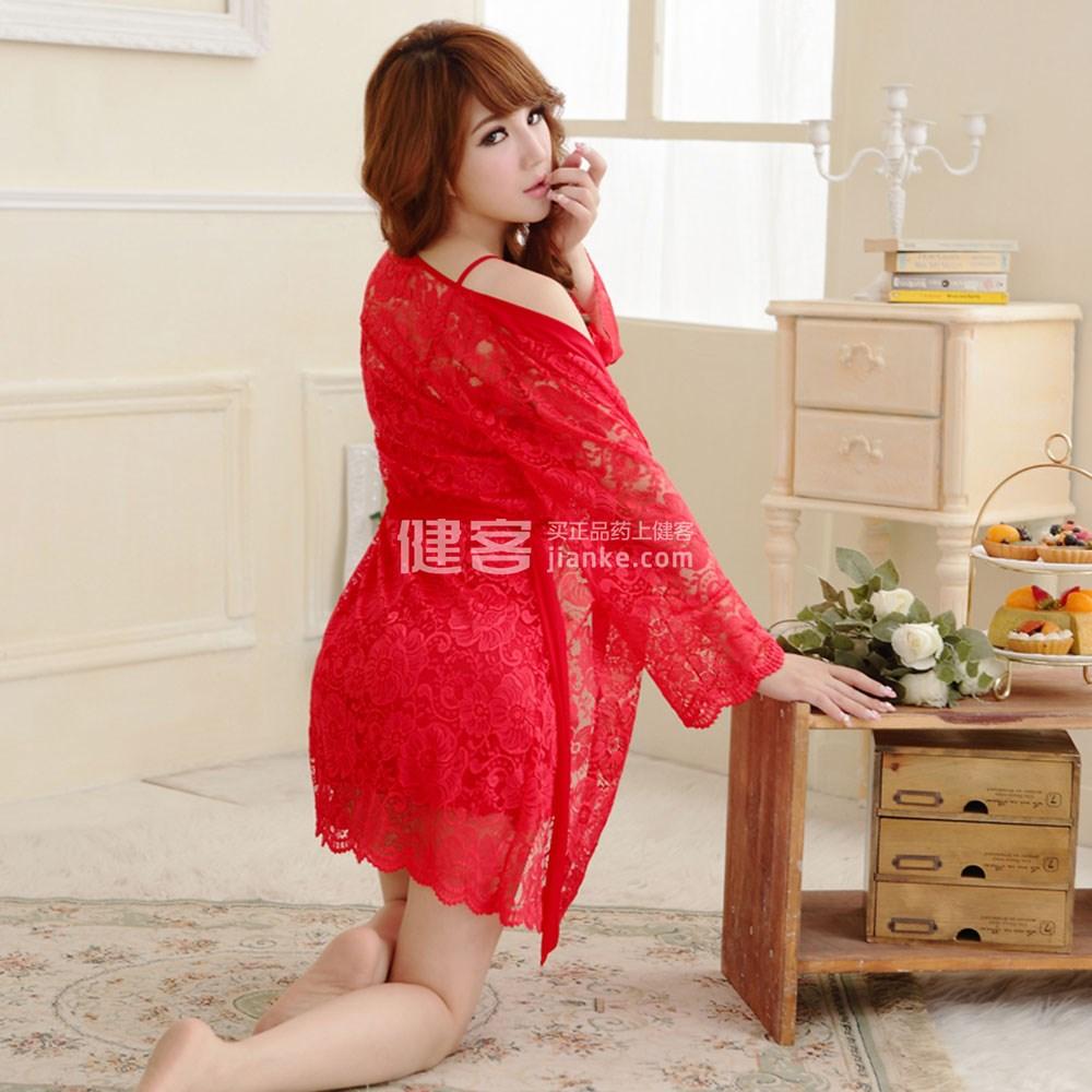 久慕雅黛 蕾丝透明 薄纱内衣吊带睡裙nj0121(红色s码)