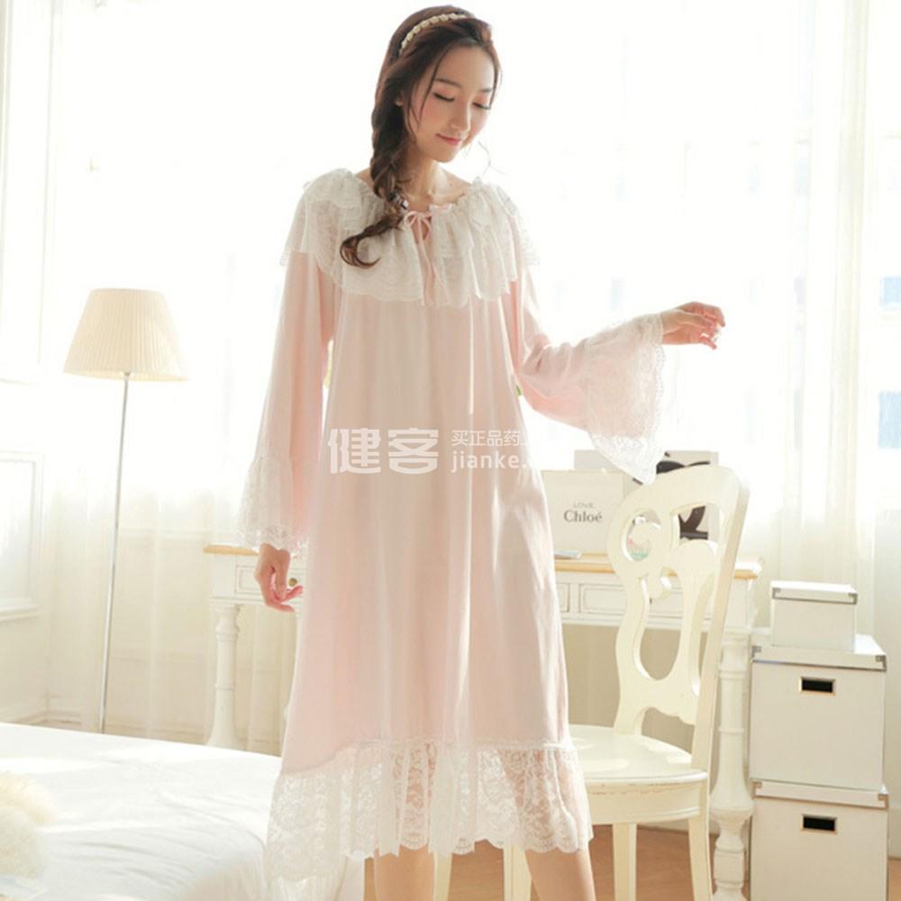 艾尼小姐(miss aine) 家居服 韩版睡衣蕾丝可爱宫廷公主睡裙029(奶昔图片
