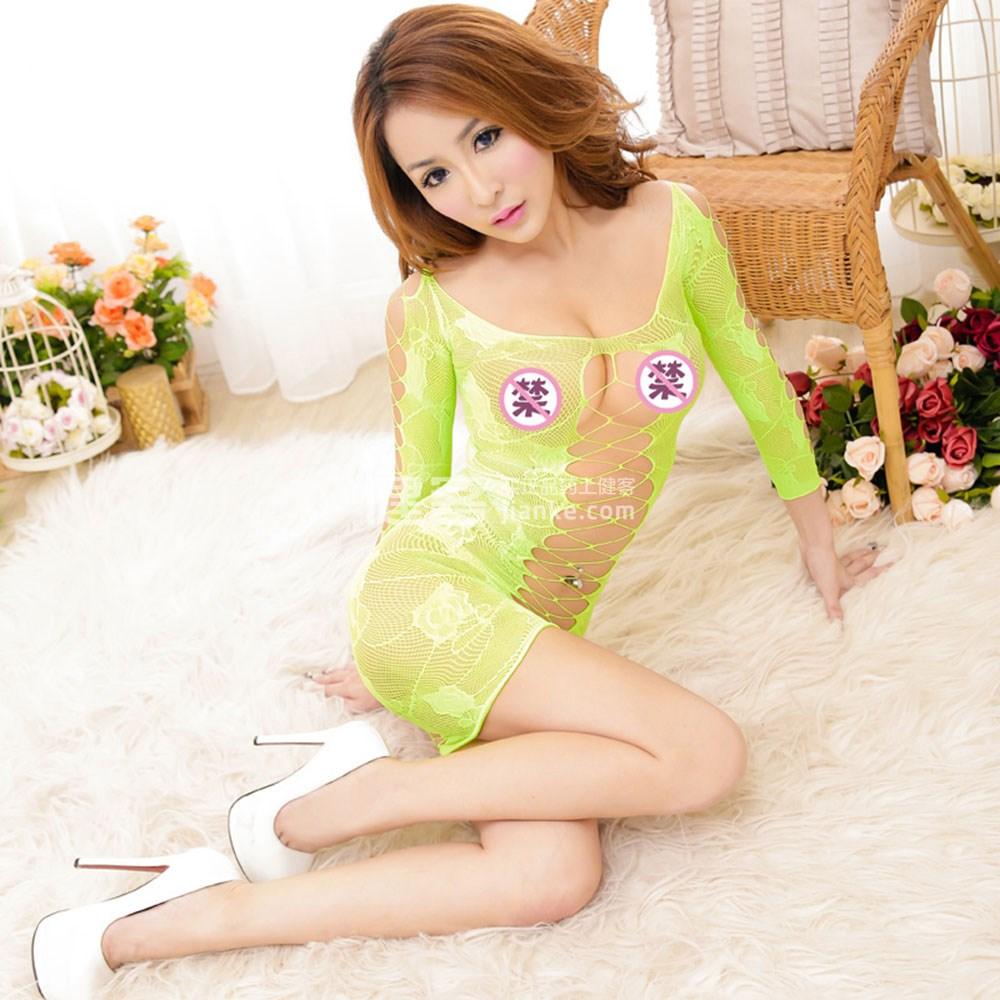 维姿(bewith)包臀情趣网衣长袖性感连衣裙(果绿色lv情趣购内裤网情趣珠带的图片